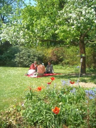 Picknick im Garten.