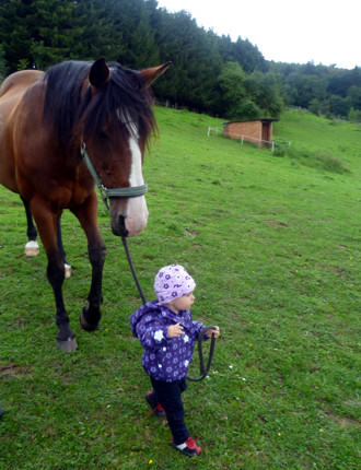 Mila führt unser Pferd Magic.