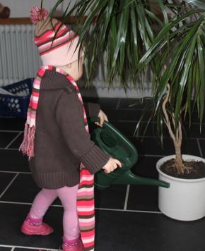 Mila gießt Blumen.